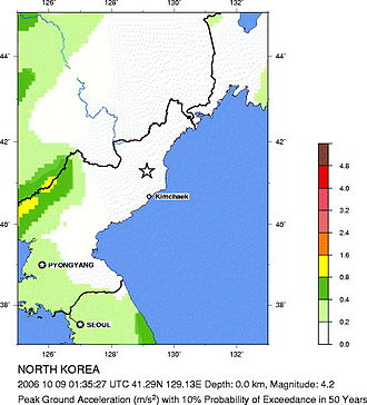 2006 North Korean nuclear test - The site vs. 50-year predictions, according to USGS, indicating the probability of the detected blast being due to natural causes.