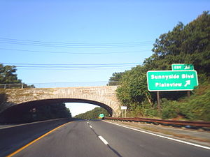 Bethpage State Parkway - Exit 38 on the Northern State Parkway in Plainview, west of where the Bethpage and Caumsett state parkways were to meet