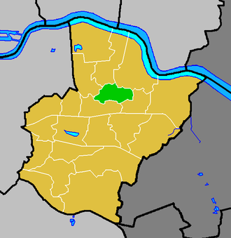 Northumberland Heath - Northumberland Heath ward (green) within the London Borough of Bexley (yellow)