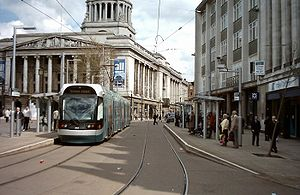 Nottinghamshire - The council house and a tram in Nottingham market square