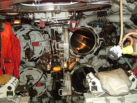 The forward torpedo tubes in HMS Ocelot Ocelot-TorpedoTubes.JPG