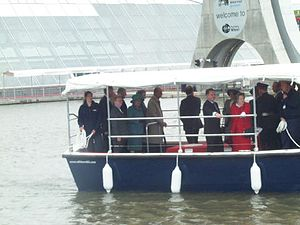 Official opening of the Falkirk Wheel on Friday 24th May 2002. Queen Elizabeth II (in the green coat and hat) tours the site with The Duke of Edinburgh.jpg