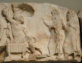 Nereid Monument - Arbinas, in Persian dress, receives emissaries. Scene from the upper podium frieze