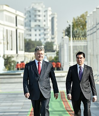 Gurbanguly Berdimuhamedow - Berdimuhamedow with Petro Poroshenko.