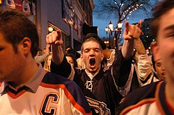 Edmonton Oilers fans, unable to enter the jam-packed Rexall Place, compromise by celebrating equally loudly as those who did manage to get into West Edmonton Mall, or celebrate on Edmonton's Whyte Avenue (pictured) during the 2006 Stanley Cup Playoffs.