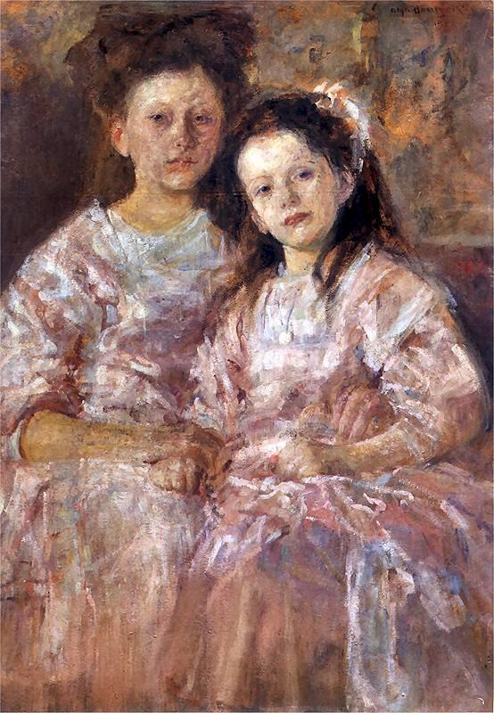 Two girls cuddling, 1906