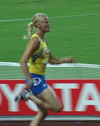 2002 World Junior Championships in Athletics - Sweden's Carolina Klüft set a new world junior record in the heptathlon.