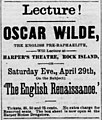 Oscar Wilde at Harper's Theatre, April 1882.jpg