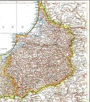 East Prussia - Map of the province of East Prussia in 1881