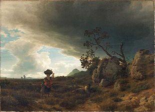 Oswald Achenbach - Campagna, Landschaft bei aufkommendem Gewitter (ca.1853).jpg