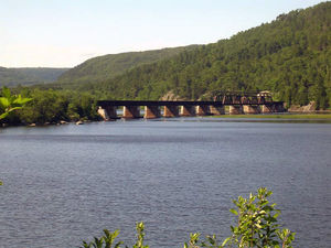 A railway bridge over the Ottawa River in Matt...