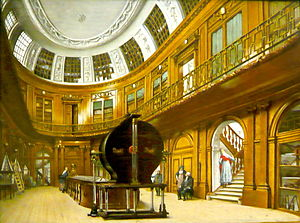 "Martin van Marum - Famous Oval room in the Teylers Museum painted by Wybrand Hendriks, showing Martin van Marum's ""Electriseermachine""."