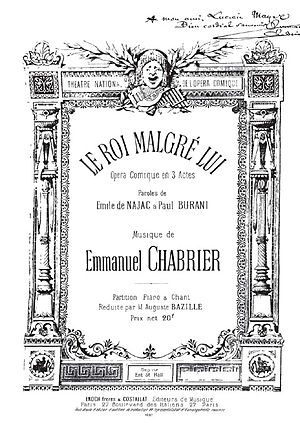 Le roi malgré lui - The title page of the vocal score of Le roi malgré lui