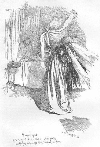 Bertha Mason - Bertha Mason in the foreground, an illustration by F. H. Townsend for the second edition of Jane Eyre, published in 1847
