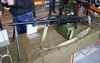 Pecheneg machine gun - A Pecheneg on display with a bipod