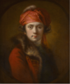 PORTRAIT OF THE ARTIST, WEARING A RED FUR-COLLARED COAT AND TURBAN.PNG