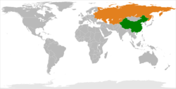 Map indicating locations of China and USSR