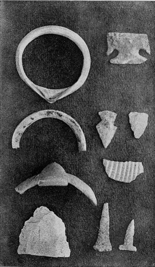 PSM V37 D779 Shell ornaments arrow points and stone from a war club.jpg