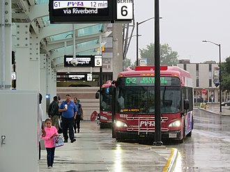 Pioneer Valley Transit Authority - The newly opened Union Station, a multi-modal transportation center in Springfield featuring local and intercity bus, train, and taxi service, as well as a parking garage.