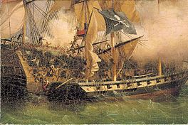Painting of a pirate ship (after 1852), after Ambroise Louis Garneray