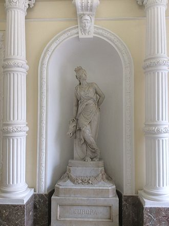 Europe - Statue representing Europa at Palazzo Ferreria, in Valletta, Malta