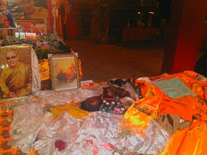 Self-immolation protests by Tibetans in China - Palden Choetso's body inside Nyitso monastery, Tibet after self-immolation on 5 November 2011