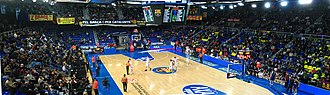 Palau Blaugrana - Panoramical view during a EuroLeague basketball game in February 2008.