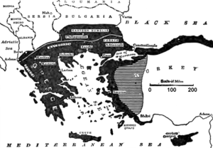Megali Idea - Greek map showing the possible lands of a Greater Greece, 1919