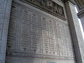Paris Arc de Triomphe inscriptions 3