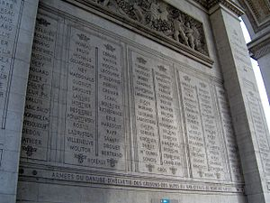 Names inscribed under the Arc de Triomphe - Image: Paris Arc de Triomphe inscriptions 3