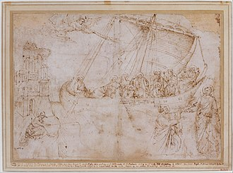 Navicella (mosaic) - Drawing of the lost mosaic by Parri Spinelli, about 1420, once owned by Vasari.