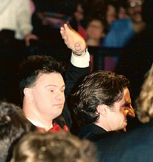 The Eighth Day (1996 film) - Pascal Duquenne and Daniel Auteuil at the 1996 Cannes Film Festival premiere.