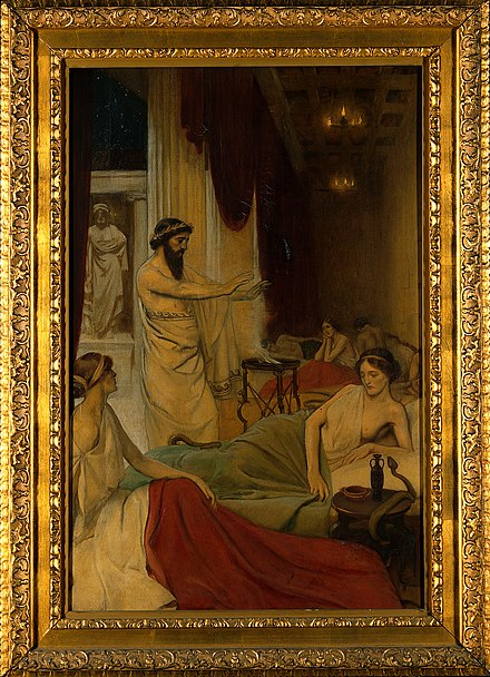 Painting depicting patients in an Asclepeion in Ancient Greece