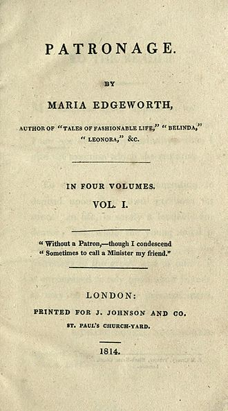 Patronage (novel) - First edition title page