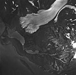 Pederson Glacier, terminus of valley glacier, and banded ogives, August 27, 1963 (GLACIERS 6713).jpg