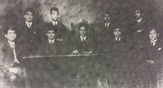 Arnold Mononutu - Mononutu with others officers of Perhimpunan Indonesia in 1925