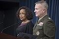 Pentagon Spokeswoman and CJCS director brief press (39897044131).jpg