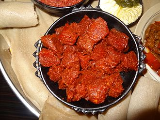 Raw meat - Raw meat is found in Ethiopian cuisine.