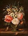 Peter Binoit - Blumenstillleben in Glasvase und Vogel (1625).jpg