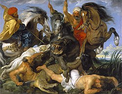 Rubens is known for the frenetic energy and lusty ebullience of his paintings, as typified by the Hippopotamus Hunt (1616).