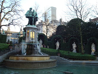 Sablon (Brussels) - Fountain of Counts Edgmont and Horne in the Petit Sablon