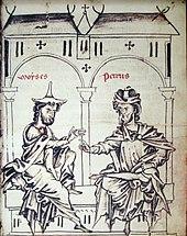 Dessin représentant deux hommes assis portant d'amples tuniques discutant sous les arches d'un bâtiment.