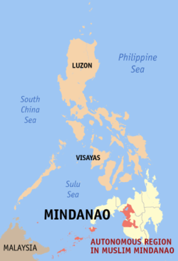 Map of the Philippines showing the location of Autonomous Region in Muslim Mindanao