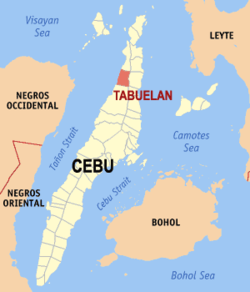 Map of Cebu with Tabuelan highlighted