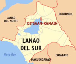 Map of Lanao del Sur with Ditsaan-Ramain highlighted