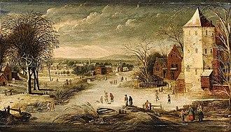 Philippe de Momper - A Village Scene in Winter with Skaters