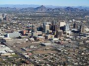 Phoenix AZ Downtown from airplane
