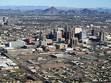 Phoenix AZ Downtown from airplane.jpg
