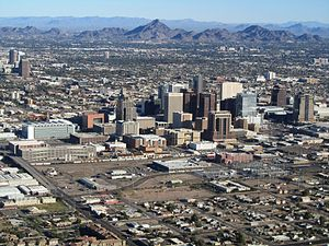 Phoenix AZ Downtown from airplane