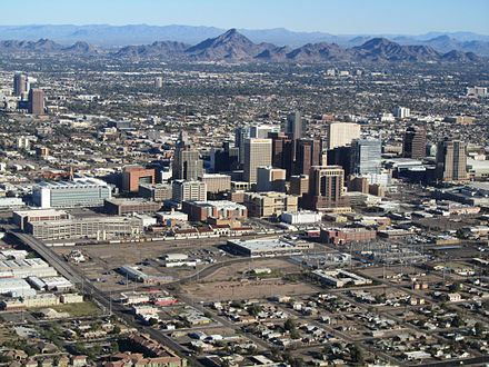 Downtown Phoenix from an airplane, 2011 Phoenix AZ Downtown from airplane.jpg